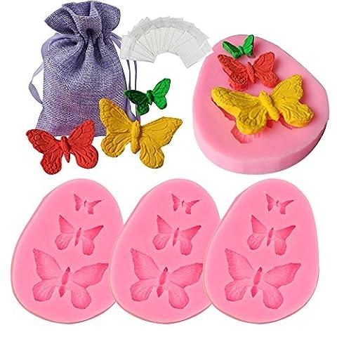 JPSOR 4Pcs Papillon moule en silicone Fondant Cake Cookie Cutter Muffin Gâteaux Biscuit au chocolat Silicone Moules Cake Décoration Cake Cake Cutter