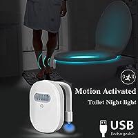 ElegantLife - Luz de inodoro recargable con sensor de movimiento, luz nocturna LED para inodoro, 12 colores, activación por movimiento, memoria interna, detección de luz
