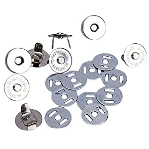AKORD Magnetic Bag Clasps, Silver, 18 mm, 10-Piece