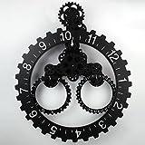 DHG Gear Clock Triangle Pegged Clock Wanduhr Kalender Gear Clock Mechanische Uhr Uhr Wohnzimmer Ideen,Schwarz