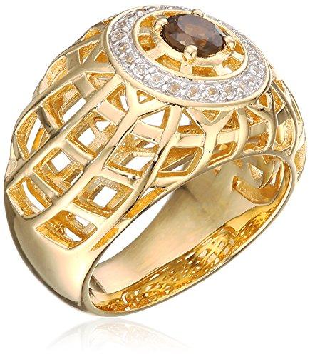 g 925 Silber rhodiniert gelb vergoldet Rauchtopas braun Topas weiß 52 (16.6) C1798R/90/BJ/52 (Gelb Topas Modeschmuck)
