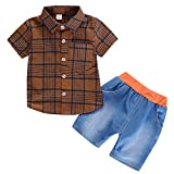 Infant Baby Girl Gentleman Plaid Shirt Print Solid Denim Shorts 2PC Set Outfits