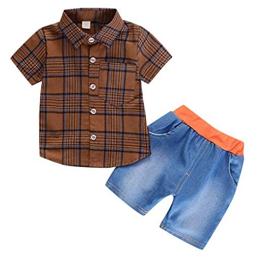 JUTOO 2pcs Set Infant Baby Gentleman Plaid Print Shirt + Solide Denim Shorts Outfits (Braun,80)