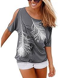 ISASSY Schulterfreies Damen Oberteile Kurzärmelig Sommer T Shirt für Standurlaub mit Feder Motiv Tops Shirt