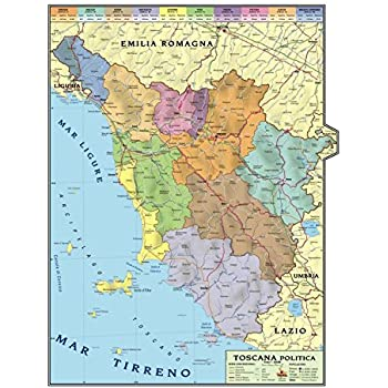 Carta Geografica Murale Regionale Toscana 100x140 Bifacciale Fisica