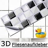 4 Set 25,3 x 5,4 cm Grandora Mosaïque 3D autocollant pour carrelage w5194 auto-adhésif cuisine salle de bain Stickers muraux Tuiles décoratives Film Noir Blanc Argent