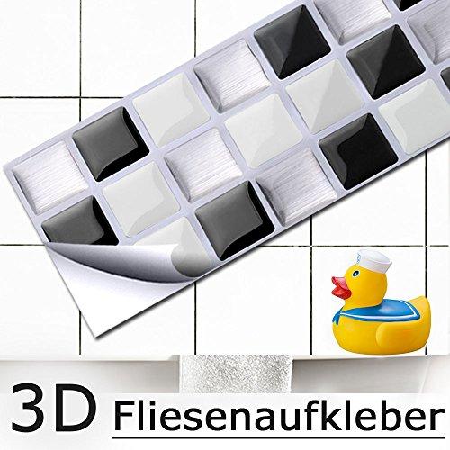 Schwarz-weiß-mosaik-fliesen (4er Set 25,3 x 5,4 cm Fliesenaufkleber schwarz weiß silber Mosaik I 3D selbstklebend Fliesendekor Fliesen Küche Bad Wandaufkleber Folie Grandora W5194)