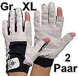 BluePort 2 Paar Damen Herren Segelhandschuhe Gr. XL/10 aus Leder - 2 Finger frei