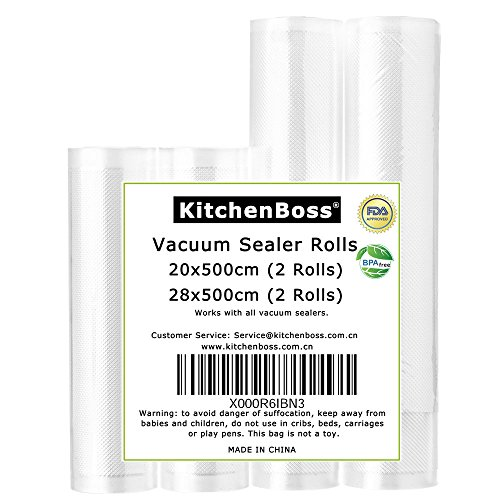 Vakuumrollen 4 Rollen 20x500cm und 28x500cm Profi- Folienrollen, Kommerzielle geprägte Taschen für Nahrungsmittelretter und Sous Vide Kochen, FDA-Zustimmung und BPA frei-KitchenBoss