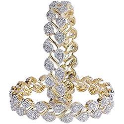 Sanara Gold American Diamond Bangle Set For Women