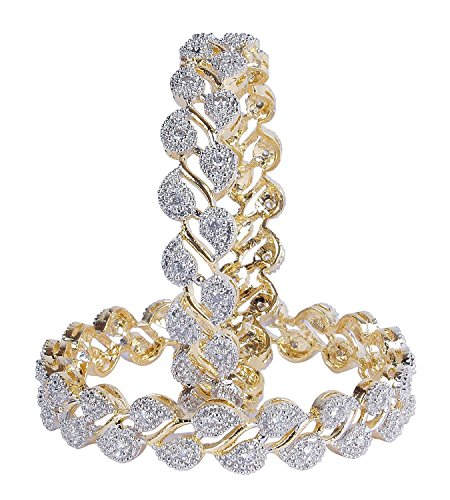 Sanara Gold American Diamond Bangle Set For Women