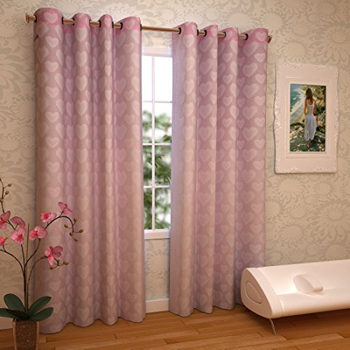 RAMCHA PINK HEART SHEER CURTAIN WITH ROD POCKET (2)