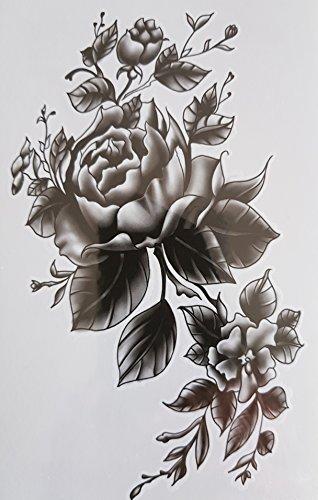 Nd tatuaggio temporaneo donna tattoo ephemere adesivo grande fiore nero