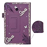 Spritech (TM) 3D Bling Rhinestone Design LG G Pad 8.0 Smart Cover Hülle Kunstleder Schutzhülle mit Ständer für LG G Pad V480 8.0 LG G Pad 8.0 dunkelviolett