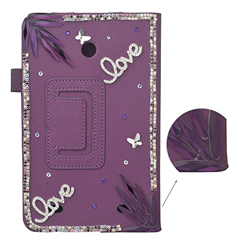 V400 Lg (spritech (TM) 3D Bling LG G Pad 7.0Smart Shell Case Premium PU Leder Stand Cover für LG G Pad 7.0V400/V410(LTE)/vk410/UK410/LK430, violett, LG G Pad 7.0)