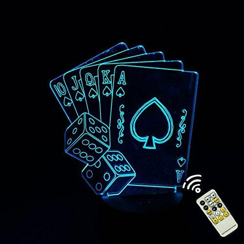 Alisabler kreative Poker Fernbedienung 7 Farben erstaunliche 3D-Illusion Kunst Skulptur leuchtende LED-Licht-Lampe Remote Setup für die Herstellung von einzigartigen Geschenkideen Dekoration Lichteffekte und dreidimensionale Visualisierung (Einzigartigen Star Wars Geschenke)