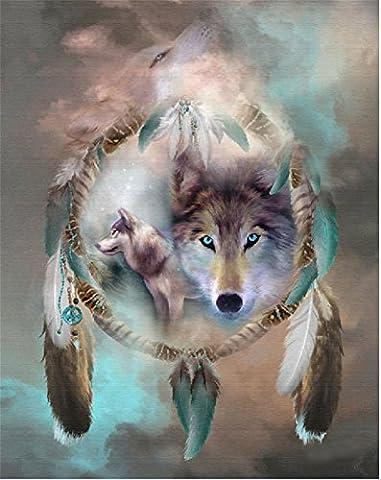 YEESAM Art nouveau 5d Diamant Peinture kit–Trois Loups Attrape-rêves–DIY Cristaux Diamant De Strass Peinture Collez-le Peinture par numéro Kits point de croix à broder