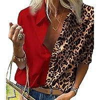 GAGA Women's Leopard Print Tops Casual Long Sleeve Button Down Shirt Tunic Blouse Red 2XL