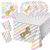 33-teiliges Party-Set goldenes Einhorn - Unicorn sparkle - Teller Becher Servietten Tischdecke für 8 Kinder