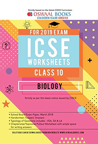 Oswaal ICSE Worksheet Class 10 Biology (For March 2019 Exam)