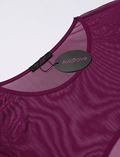 Avidlove Damen Netzbody Netz Reizwäsche Rückenfrei Lingerie Body Wäsche Unterwäsche mit Langarm Rundausschnitt Bodysuit Babydoll Violett