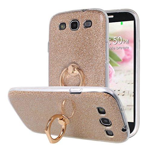 Galaxy S3 Hülle Transparente, Galaxy S3 Neo Hülle Ring, Moon mood Durchsichtige Weiche TPU Case + Glitzer Papier 2 in 1 Hybrid Hülle Stand Finger Griff Halter Handyhülle für Samsung Galaxy S3 Neo/S3 (Papier Stand-halter)