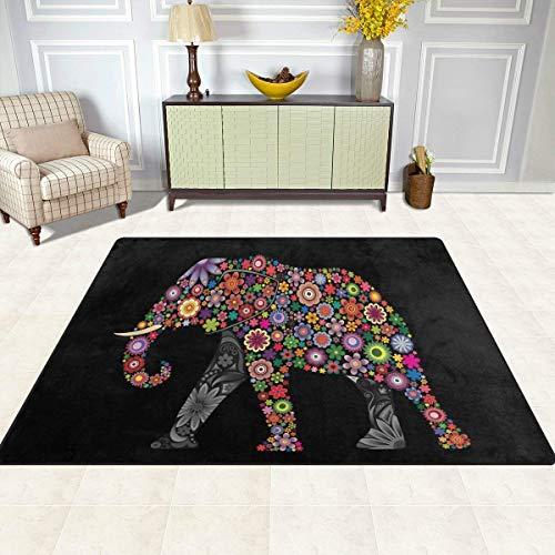 Guoey tappeti tappeto di feltro 4'x5', etnici tribali floral mandala elefante antiscivolo in poliestere soggiorno sala da pranzo camera da letto ingresso tappeto tappetino home decor