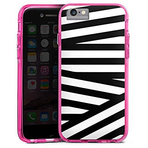 Apple iPhone 7 Plus Bumper Hülle Bumper Case Glitzer Hülle Linien Lines Pattern Bumper Case transparent pink