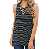 Qmber Sexy Weste Tops, Women Stripes gestaffelte Vordere ärmellosen Weste Top Jacket große Weste Förderung (XL, Schwarz)