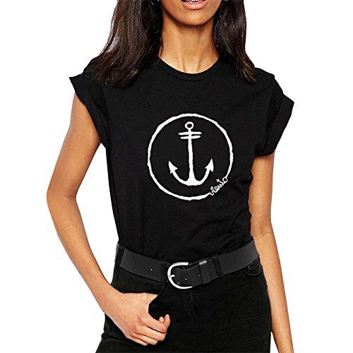 VIENTO Anchor Logo DamenT-Shirt (Schwarz, L)