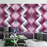 #10: DeStudio Pink Square Illusion Wallpaper Roll (Wall Covering Area : 51cms X 510cms)-14161