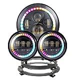 ZHUOYUE 2Pcs 7Inch Round Proiettore Daymaker LED Fari RGB Halo E RGB Da 4,5 Pollici Fendinebbia Per Jeep Wrangler Bluetooth Phone APP Control
