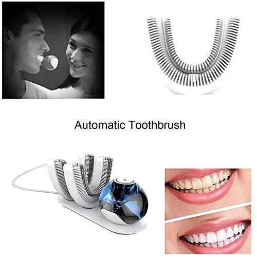 Cepillo de dientes eléctrico automático Limpiador oral automático de 360 grados / cinturón de limpieza por ultrasonidos Cepillo de dientes en forma de U superior inalámbrico carga dientes blancos