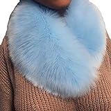 DAYLIN Bufandas de Piel Sintética para Mujer, Moda Color Sólido Mujeres Accesorios Pashmina Bufanda para Otoño Invierno (Azul claro)