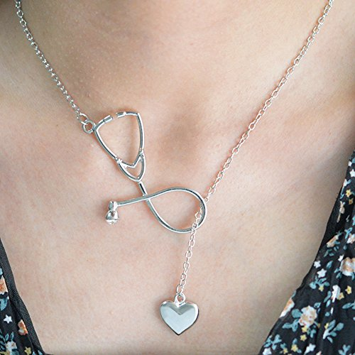 1PC Love Doctor Enfermera Estetoscopio Colgante Collar para Mujer, plata, 45+5cm