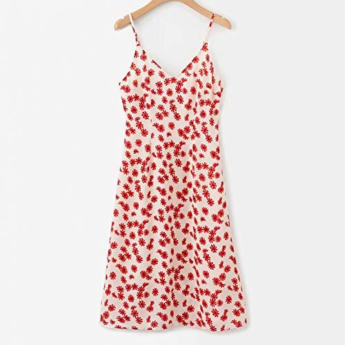 QAQBDBCKL Sommerfrauen Kleid Mode kleine Blumen verstellbare V-Ausschnitt Neckholder Damen Print Kleid lässig Urlaub Elegante Markenkleid (Kleine, Kleid Verstellbare)