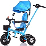 4-in-1 Sports Edition Trike für Kinder, multifunktionale Kinder Dreirad Kid Trolley mit Anti-UV-Markise und Eltern Griff/für 1-3-6 Jahre alt Boy und Girl Baby/Vitality Blue Bike (Farbe : A)