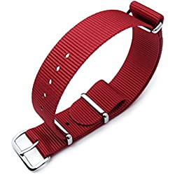 MiLTAT 18mm G10 NATO Watch Strap, Ballistic Nylon Polished Hardware, Color Red