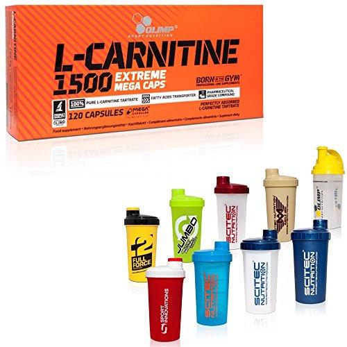OLIMP SHAKER & L-Carnitine 1500 Extreme Mega Caps Fatburner 1000mg/Kapsel, 120 Kapseln