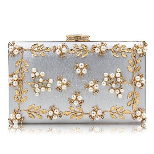 3a84c0ca8f494 Milisente Frauen Perle Wulst Blumen Clutch Tasche Damen Abendtaschen  Hochzeit Handtasche (Rosa) Silber