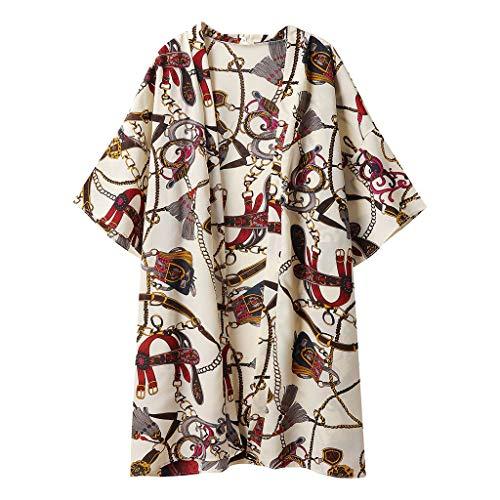 Strickjacke Damen, GJKK Sommer Strickjacke Blumen Druck Open Cape Mantel Lange Bluse Cardigan Kimono Jacke Casual Strand Bikini Cover up Tops - Kimono Wand