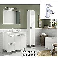Hogar Decora Conjunto Mueble Baño Completo Oviedo, Lavabo + Espejo + Griferia Incluida