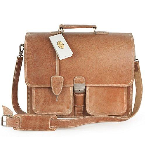 Klassische Aktentasche / Lehrertasche Größe L aus Leder, für Damen und Herren, Schwarz, Hamosons 651 Natur-Braun