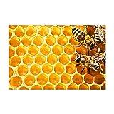 MMPTn Natur-Tier-Honig-Bienen-Badeteppiche Frühlings-Aquarell-Tier-Insekten-Biene auf Blumen-Duschmatte Fußmatte 15.7X23.6in für Inneneinrichtungen Badezimmer-Boden-Teppich