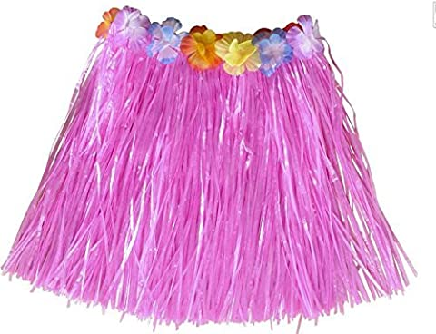 Pink Hawaiian Grass Skirt Flower Hula Lei Garland Ladies Fancy Dress Costume by Simply Gorgeous