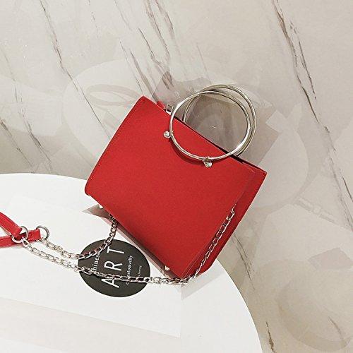 Weibliche metall Ring Frosted handtasche kleine quadratische tasche messenger bag Rote Trompete
