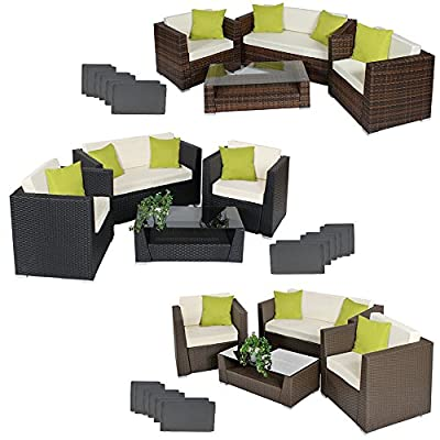 TecTake Luxury rattan aluminium garden furniture sofa set outdoor wicker with glass table + 4 extra pillows -different colours-