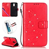 Motorola Moto G4 / G4 Plus Leather Case Wallet Book Cover , NEWSTARS Lightweight Folio Flip Shiny Bling Rhinestone PU Case Diamond Design Mobile Cell Phone Cover Protect Skin Leather Case For Moto G4 / G4 Plus Kickstand Card Holder ID Pouch / Cash Pocket / Card Slots + 1Pcs Screen Protector + 1Pcs Stylus Touch Pen - Diamond Red