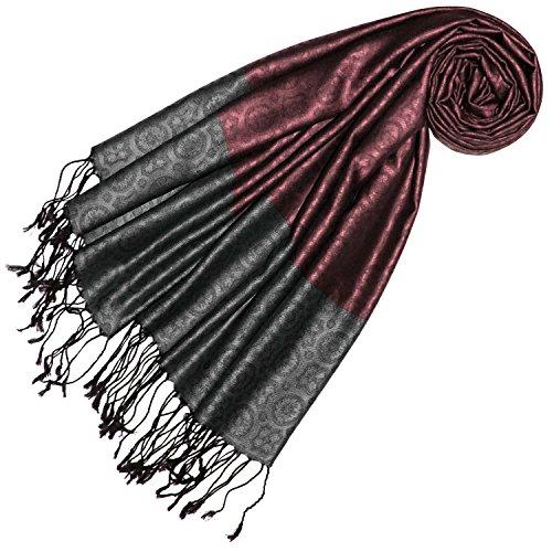 Lorenzo Cana Lorenzo Cana Luxus Damen Pashmina 70% Seide 30% Viskose Schaltuch 70 cm x 190 cm zweifarbiger grau rot Schal Stola Frauenschal 78433