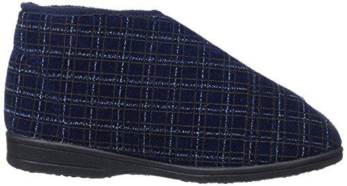 Zedzz, Navy Blue Check Velours Pantoufles Pour Hommes